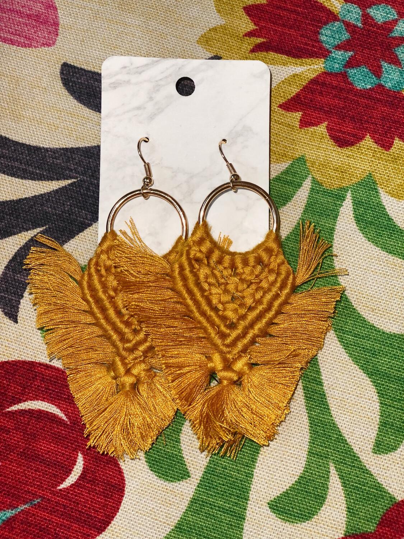 Mustard Macrame Earrings