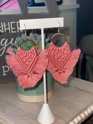 Mauve Pink Macrame Earrings