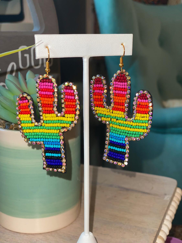 Multi Serape Cactus Earrings