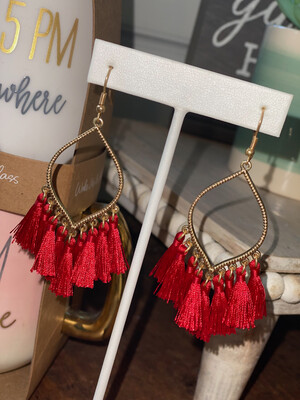 Red Tassel Filigree Earrings