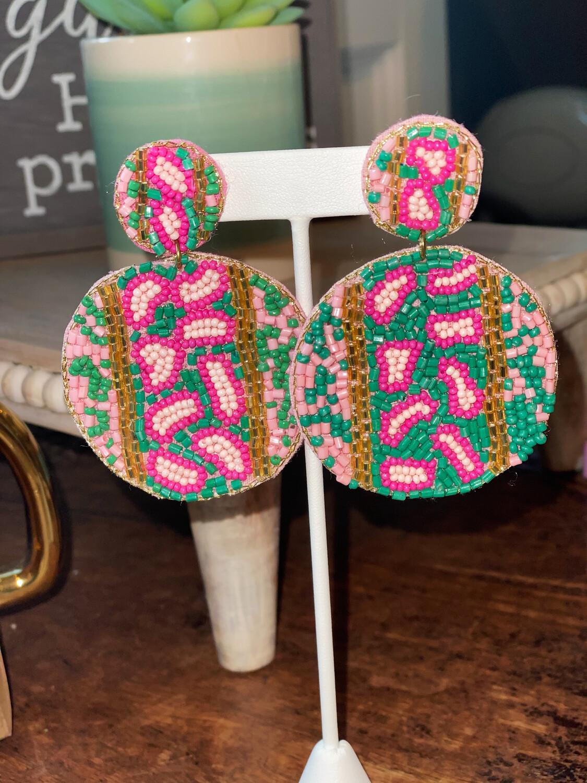 Pink & Green Cheetah Earrings