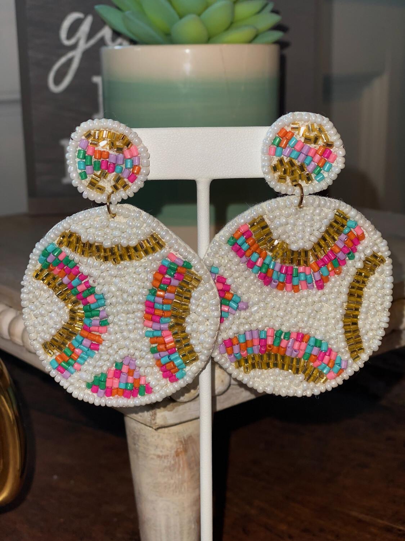 Multi-Colored Beaded Circle Earrings