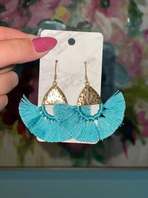 Blue Tassel Fan Earrings
