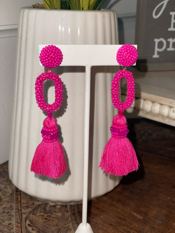 Pink Post Tassel Earrings