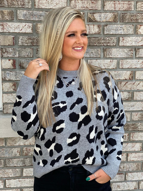 Grey Leopard Knit Sweater