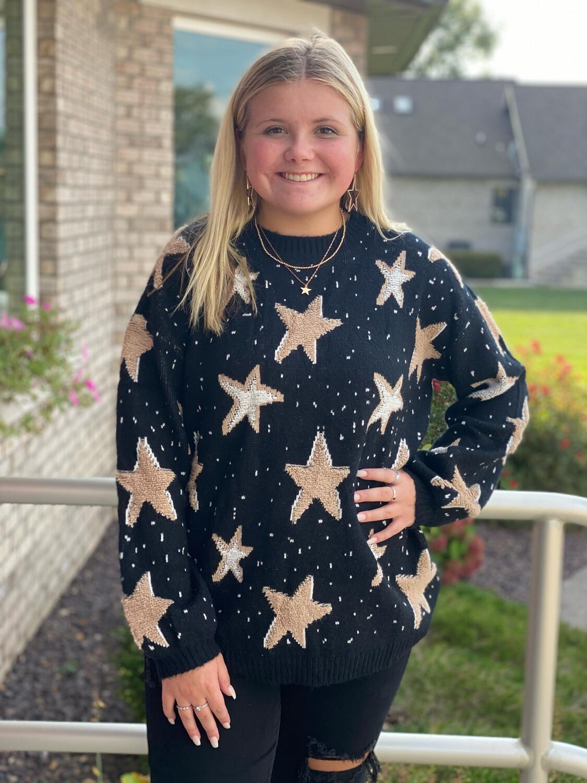 Black Textured Star Sweater