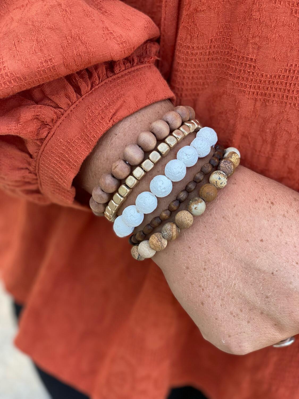 Brown Beaded 5 Bracelet Set