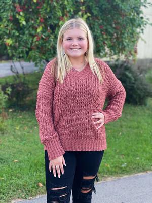 Marsala Chunky V Neck Sweater