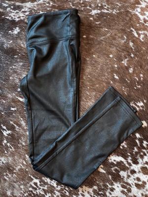 Black Metallic Print Leggings