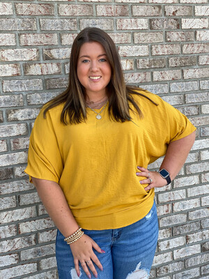Mustard V Neck Oversized Top
