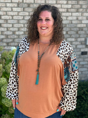 Plus Light Clay Mixed Print Sleeve Top