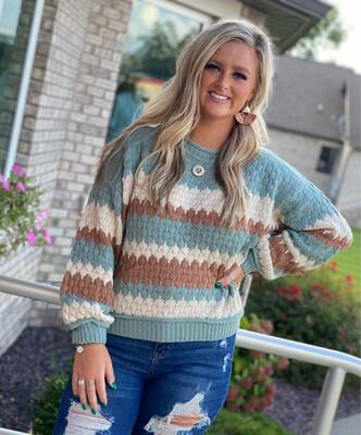 Sage Knit Striped Sweater
