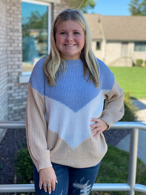 Blue Mix Arrow Block Sweater