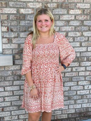 Salmon Mixed Print 3/4 Sleeve Dress
