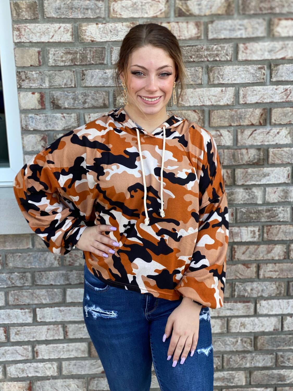Burnt Orange Camo Cropped Hoodie