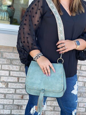Seafoam Bailey Crossbody With Accent Strap