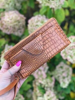 Brown Textured Kyla Wallet