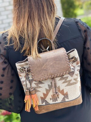 Khaki Kourtney Aztec Backpack/Crossbody