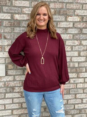 Wine Textured Mock Neck Sweater
