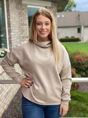 Taupe High Neck Long Sleeve Top