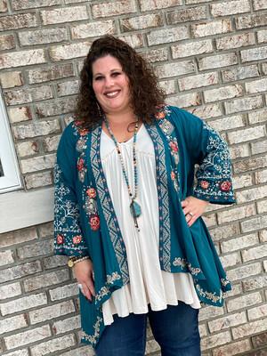 Plus Savanna Jane Teal Embroidered Kimono