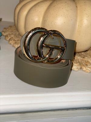 Olive Shiny Gold Belt