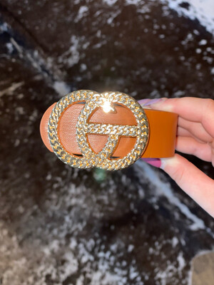 Brown Chain Link Gold Belt