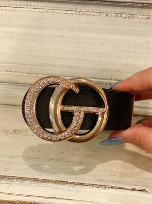 Plus Black Rhinestone Gold Buckle Belt