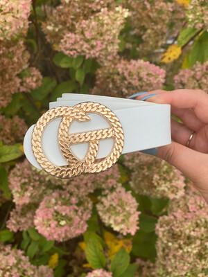 White Chain Link Gold Belt