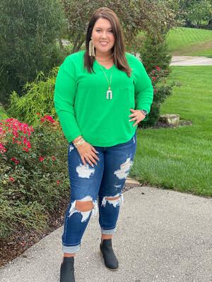 Kelly Green Long Sleeve V-Neck Pocket Blouse