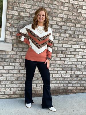 Rust & Leopard Print Contrast Sweater