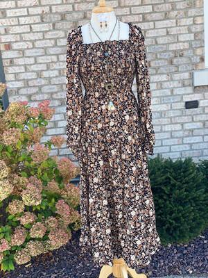 Black Floral Smocked Waist Maxi Dress