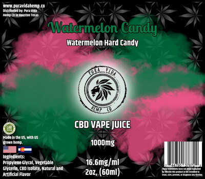 Watermelon (Watermelon Hard Candy) CBD vape juice - Lab Tested - THC Free