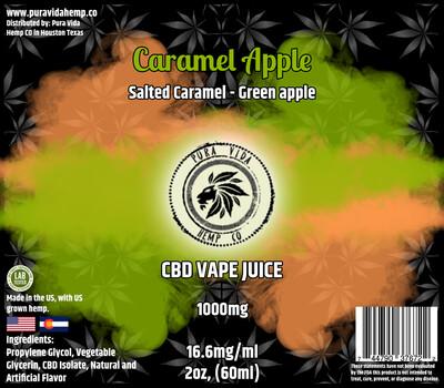 Caramel Apple (Salted Caramel & Green Apple) CBD vape juice - Lab Tested - THC Free