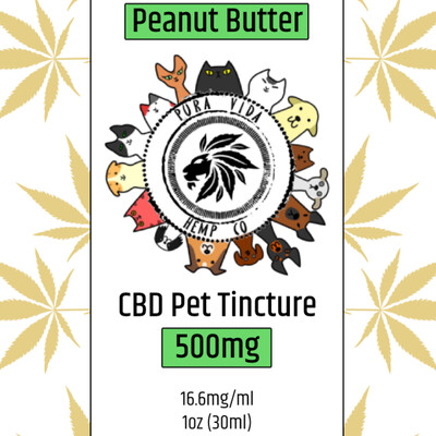 CBD Pet Tincture Peanut Butter - Lab Tested - THC Free