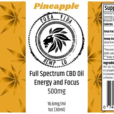 Full-Spectrum Tincture Pineapple (Energy and Focus) - Lab Tested -
