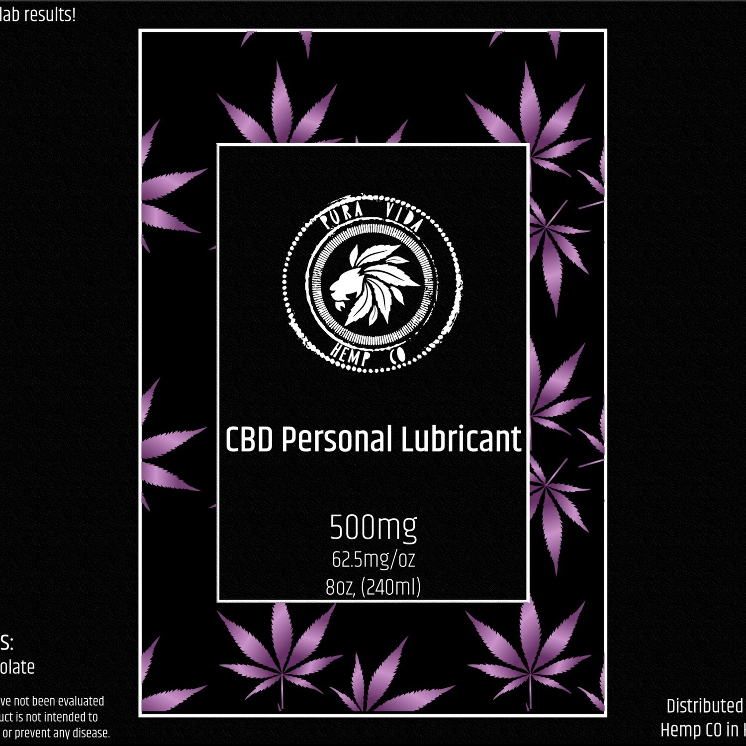 CBD Personal Lubricant - Lab Tested - THC Free