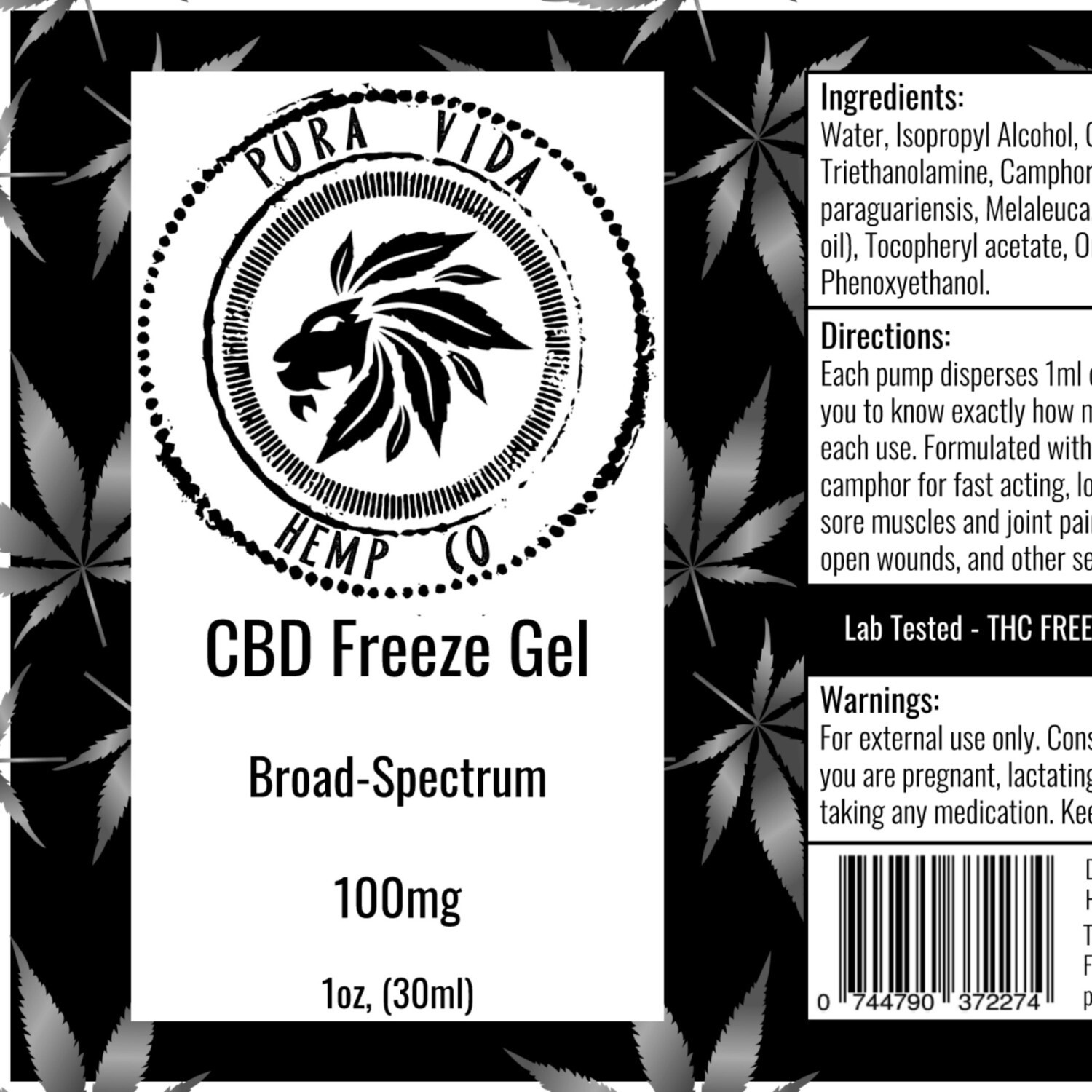 CBD Freeze Gel for Topical Use - Lab Tested - THC Free -