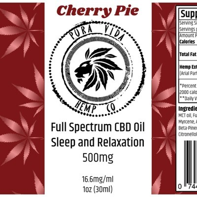 Full-Spectrum Tincture Cherry Pie (Sleep and Relaxation) - Lab Tested -