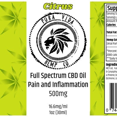 Full-Spectrum Tincture Citrus  (Pain and Inflammation) - Lab Tested -