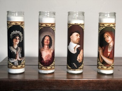NEW RELIGION CANDLES (ALL 4 or INDIVIDUAL)
