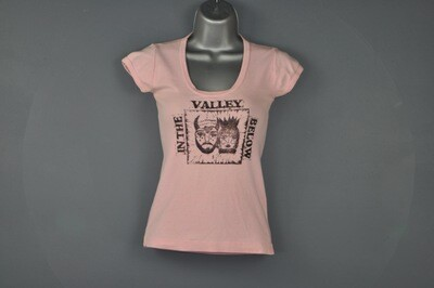 XS Vintage Block Printed  Repurposed Pink Women's Tee T-Shirt