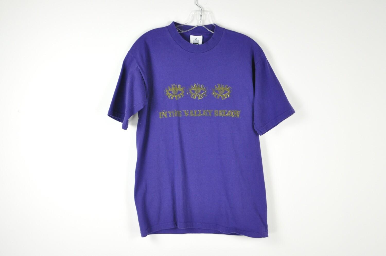 Vintage Block Printed Repurposed Purple Unisex Tee T-Shirt