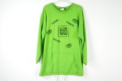 Vintage Block Printed Repurposed Lime Green Unisex Sweatshirt - XL