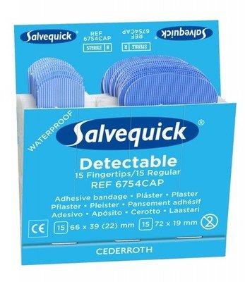 Salvequick blauwe detecteerbare pleisters vingertop/regulier 6754 voordeelpak 6 ds.