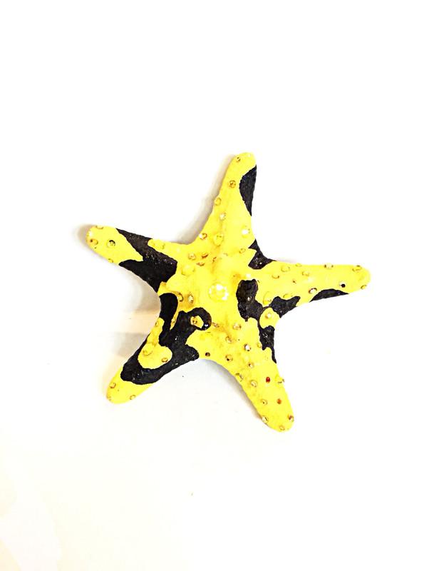 Yellow and Black Starfish Ring