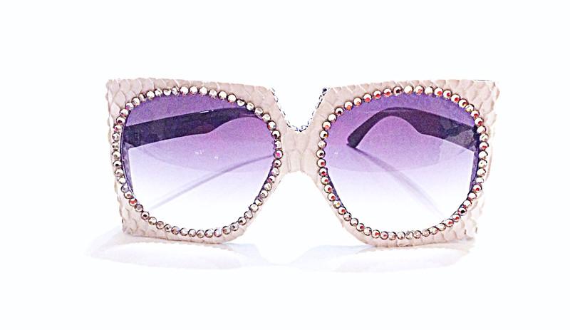 Gray Snake Skin Sunglasses w/ Swarovski Rhinestones