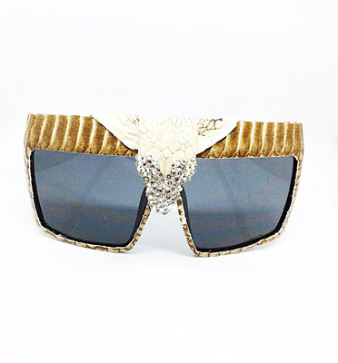 King Cobra Crowned (Snake Head) Snakeskin  Sunglasses- White With Swarovski Rhinestones