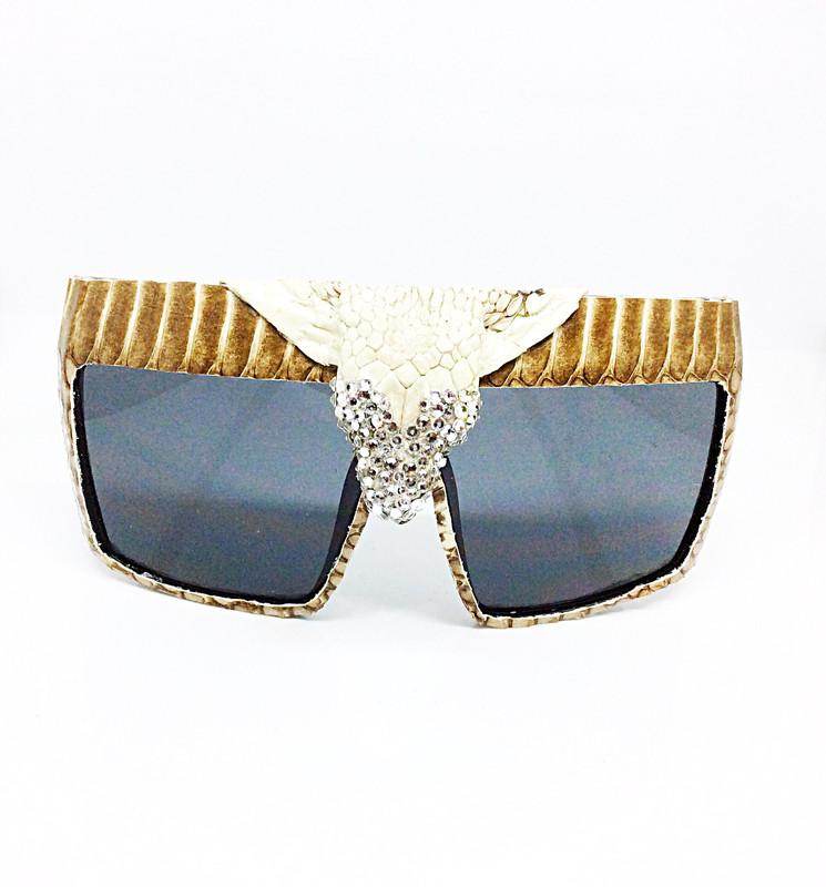 King Cobra Crowned (Snake Head) Snakeskin  Sunglasses- White With Swarovski Rhinestones