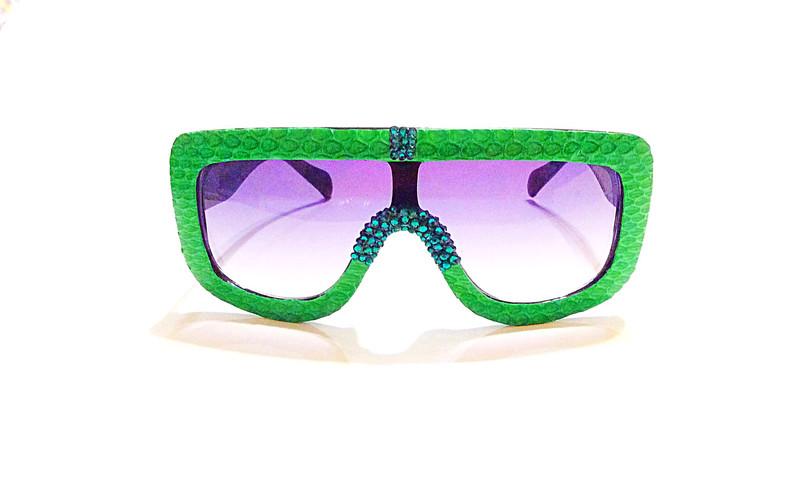 Green Snakeskin Sunglasses With Swarovski Rhinestones
